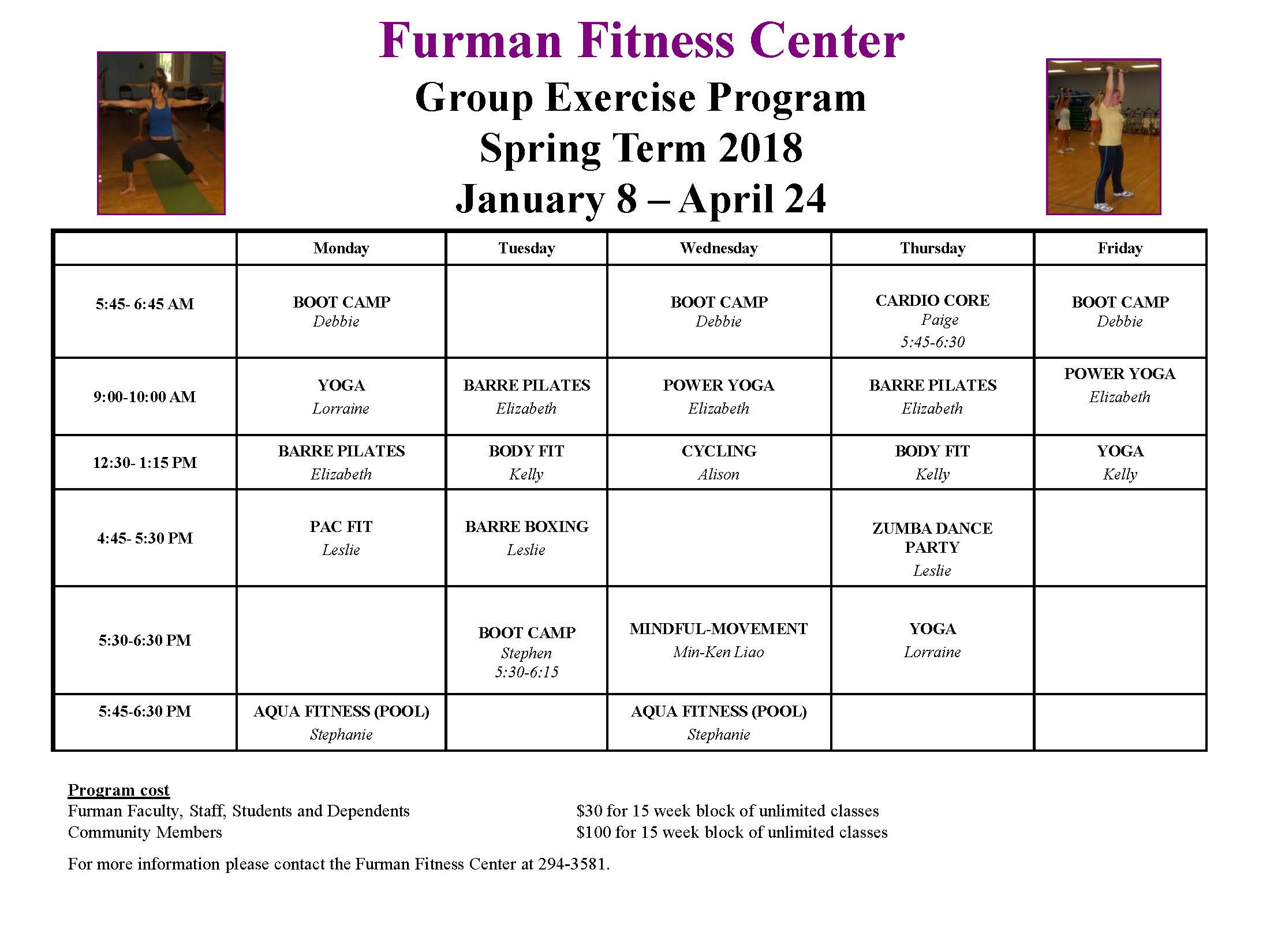 Spring Group Exercise Class Schedule Live Well Furman