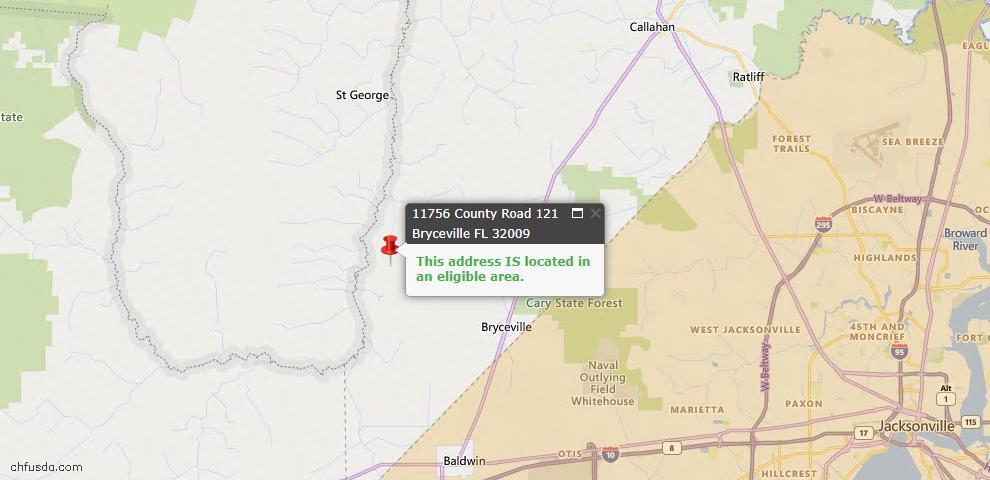 USDA Loan Eligiblity Map - 11756 Co Rd 121, Bryceville, FL 32009