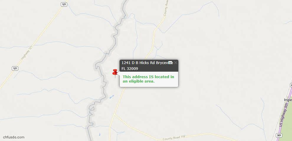 USDA Loan Eligiblity Maps From - Bryceville, FL