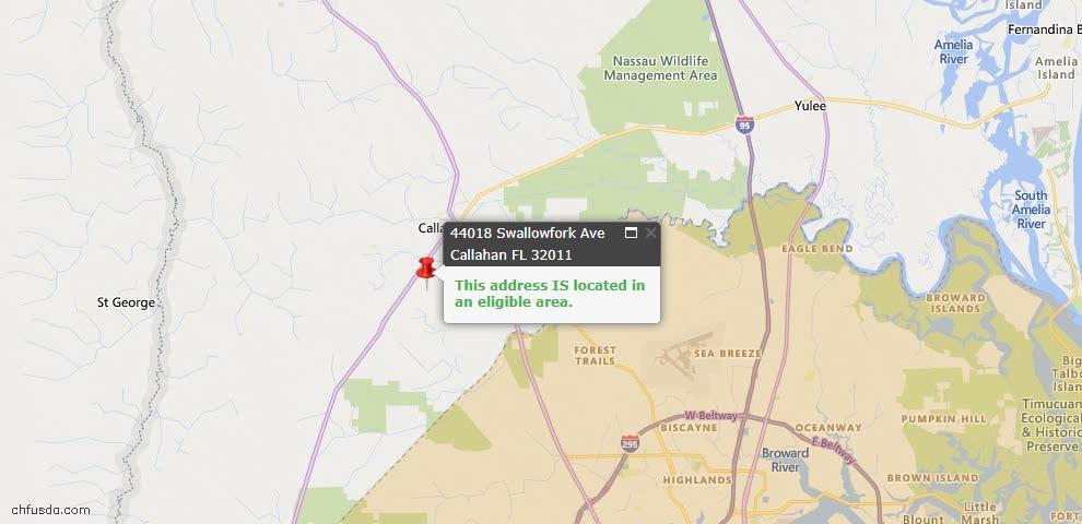 USDA Loan Eligiblity Map - 44018 Swallowfork Ave, Callahan, FL 32011