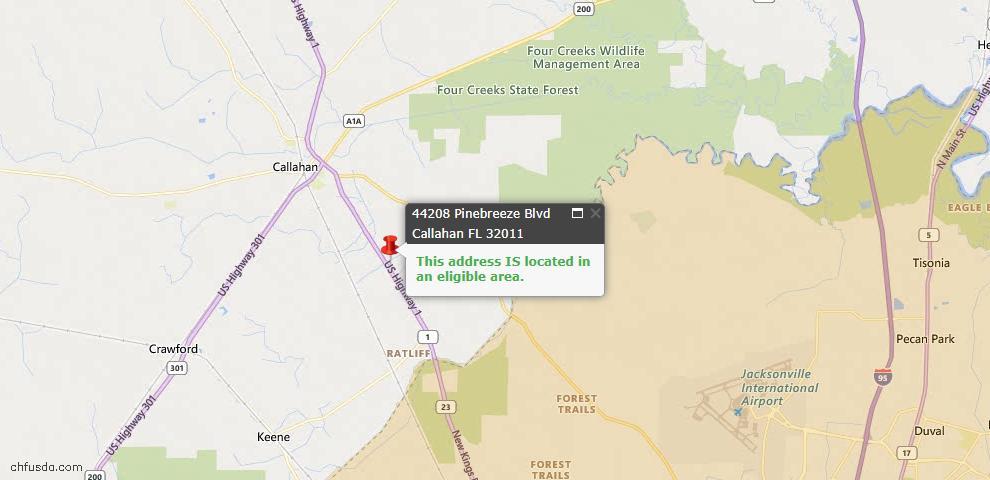 USDA Loan Eligiblity Map - 44208 Pinebreeze Blvd, Callahan, FL 32011