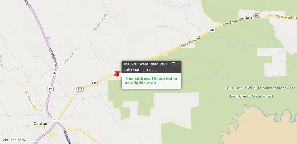 USDA Loan Eligiblity Map - 450570 State Road 200, Callahan, FL 32011