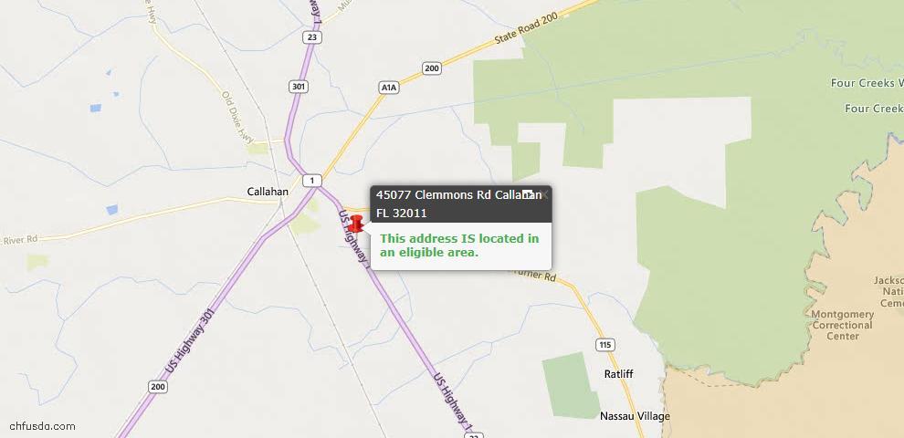 USDA Loan Eligiblity Maps From - Callahan, FL