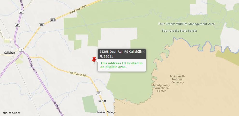 USDA Loan Eligiblity Map - 55268 Deer Run Rd, Callahan, FL 32011
