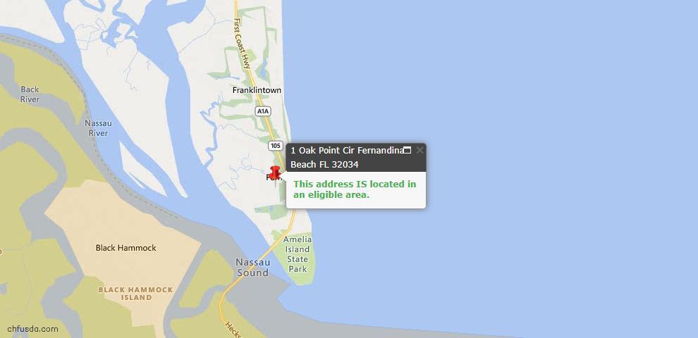USDA Loan Eligiblity Map - 1 Oak Point Cir, Fernandina Beach, FL 32034