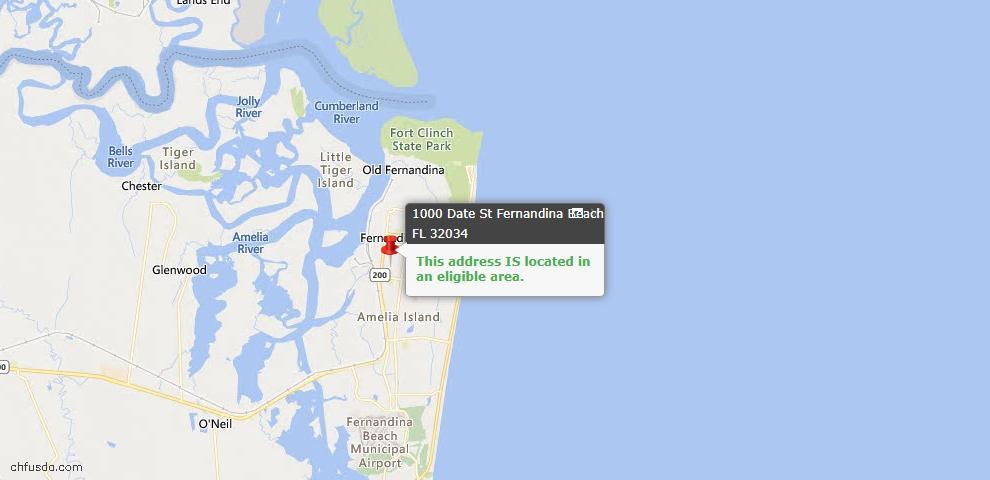 USDA Loan Eligiblity Map - 1000 Date St, Fernandina Beach, FL 32034