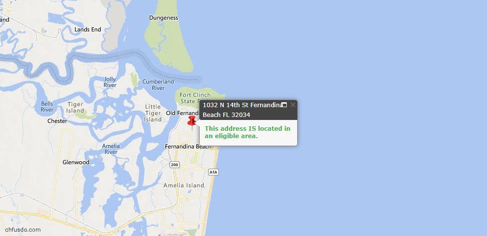 USDA Loan Eligiblity Map - 1032 North 14th St, Fernandina Beach, FL 32034