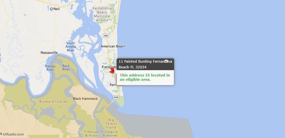 USDA Loan Eligiblity Map - 11 Painted Bunting, Fernandina Beach, FL 32034