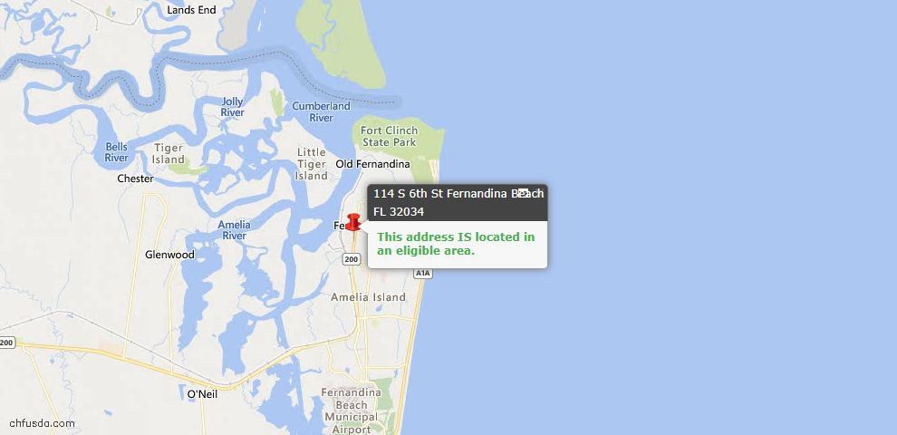 USDA Loan Eligiblity Map - 114 South 6th St, Fernandina Beach, FL 32034
