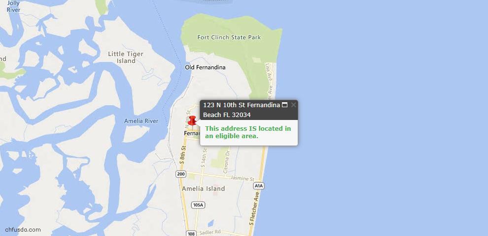 USDA Loan Eligiblity Map - 123 North 10th St, Fernandina Beach, FL 32034