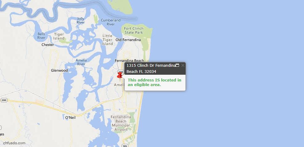 USDA Loan Eligiblity Map - 1315 Clinch Dr, Fernandina Beach, FL 32034