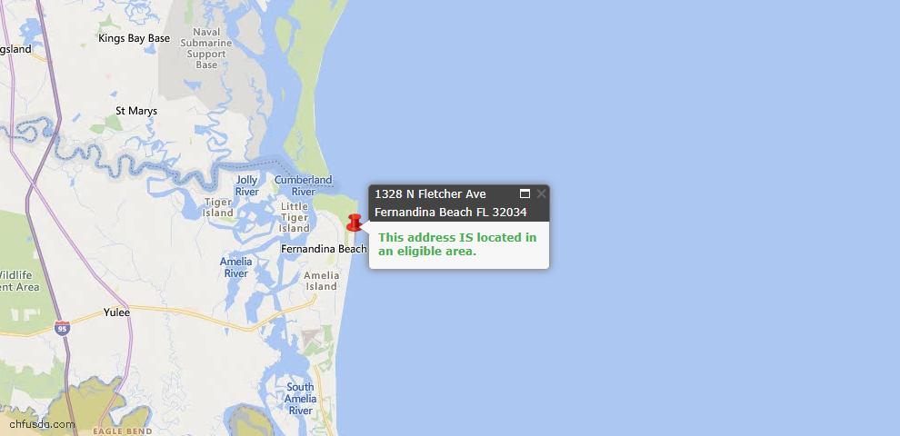 USDA Loan Eligiblity Map - 1328 North Fletcher Ave, Fernandina Beach, FL 32034