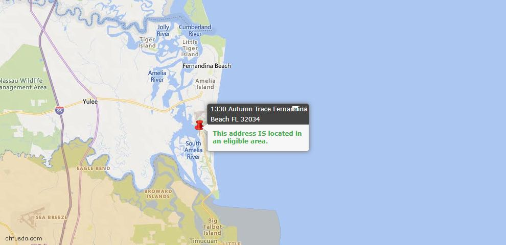 USDA Loan Eligiblity Map - 1330 Autumn Trce, Fernandina Beach, FL 32034