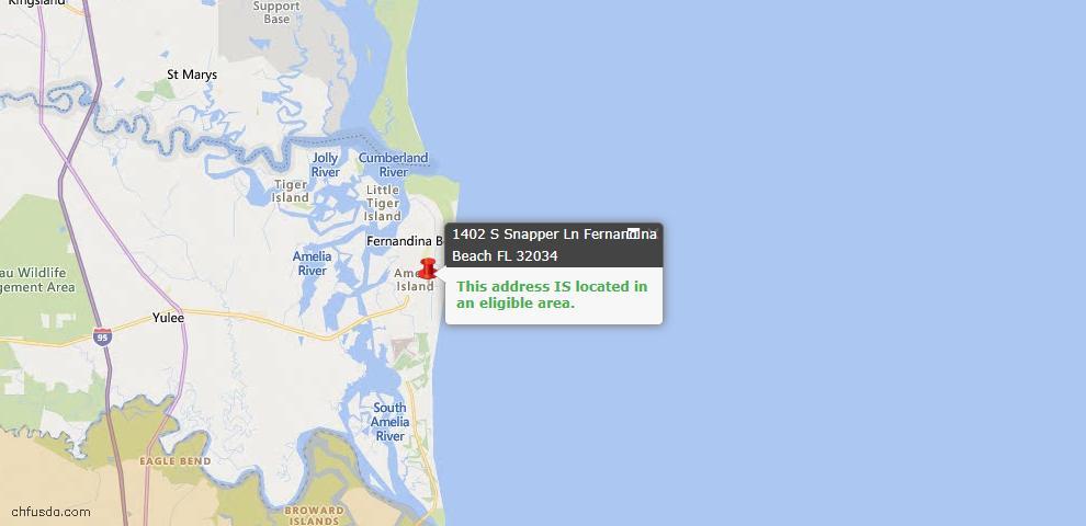 USDA Loan Eligiblity Map - 1402 South Snapper Ln, Fernandina Beach, FL 32034