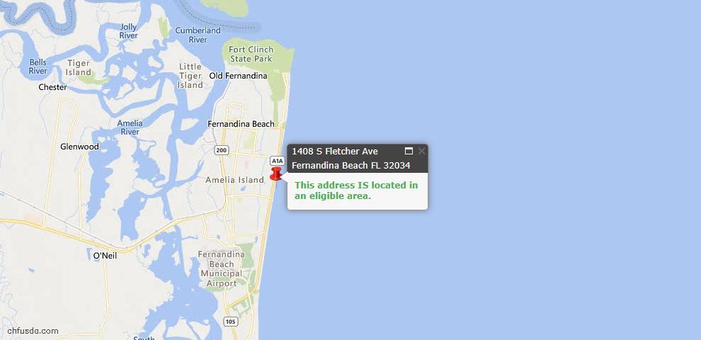 USDA Loan Eligiblity Map - 1408 South Fletcher Ave, Fernandina Beach, FL 32034