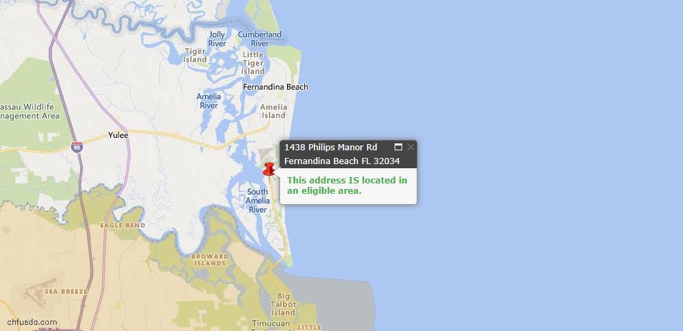 USDA Loan Eligiblity Map - 1438 Philips Manor Rd, Fernandina Beach, FL 32034