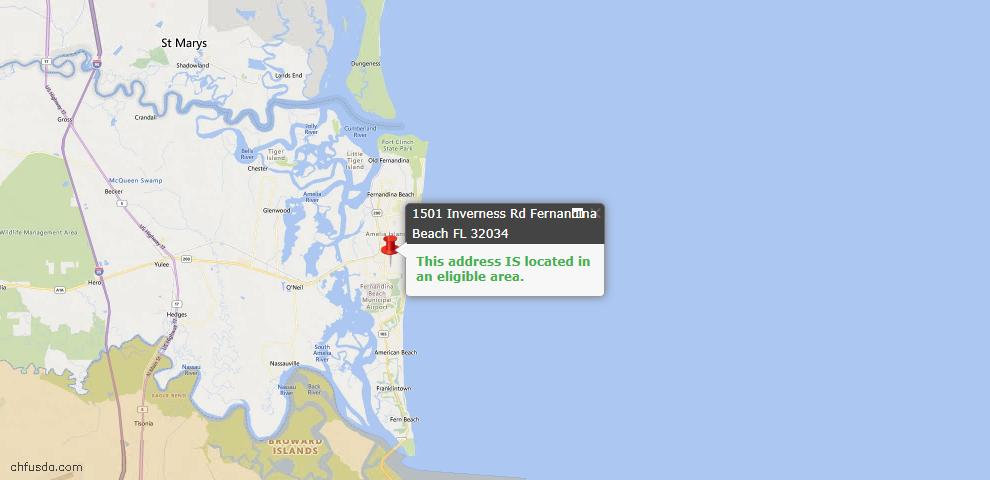 USDA Loan Eligiblity Map - 1501 Inverness Rd, Fernandina Beach, FL 32034