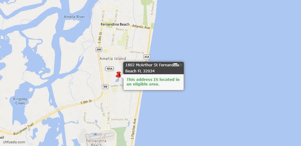 USDA Loan Eligiblity Map - 1802 Mcarthur St, Fernandina Beach, FL 32034