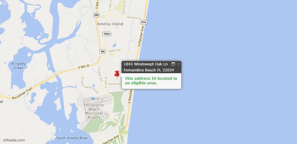 USDA Loan Eligiblity Map - 1843 Windswept Oak Ln, Fernandina Beach, FL 32034