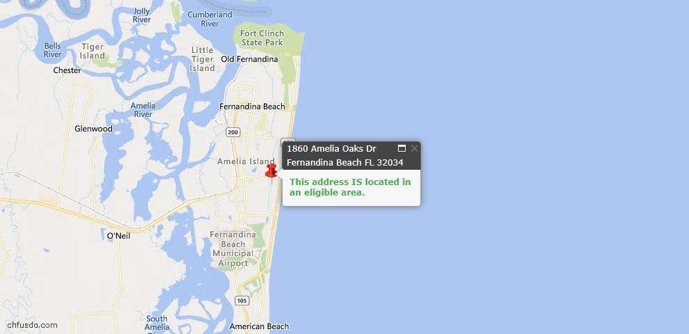 USDA Loan Eligiblity Map - 1860 Amelia Oaks Dr, Fernandina Beach, FL 32034