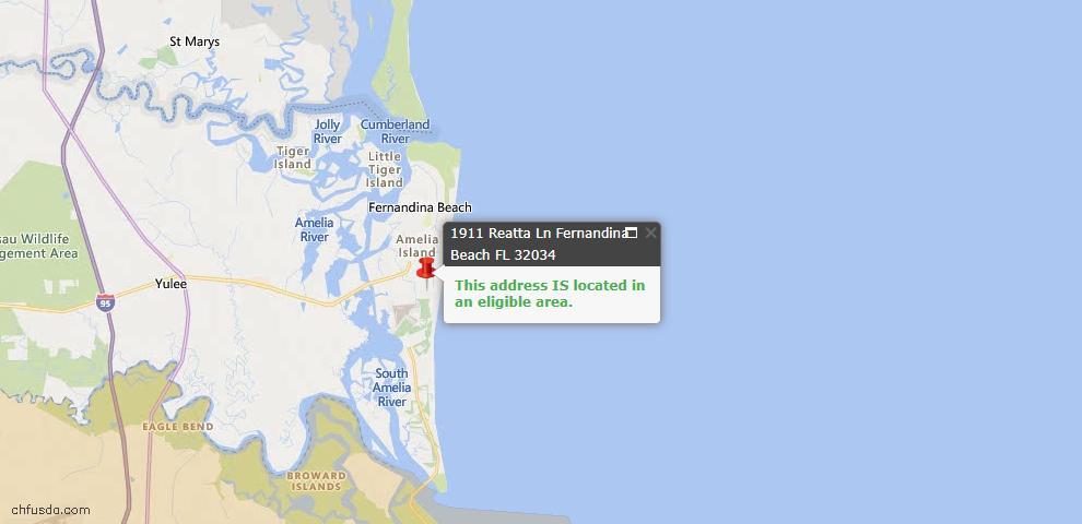 USDA Loan Eligiblity Map - 1911 Reatta Ln, Fernandina Beach, FL 32034