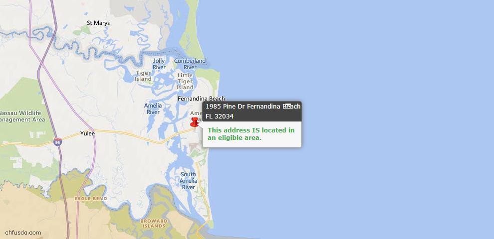 USDA Loan Eligiblity Map - 1985 Pine Dr, Fernandina Beach, FL 32034
