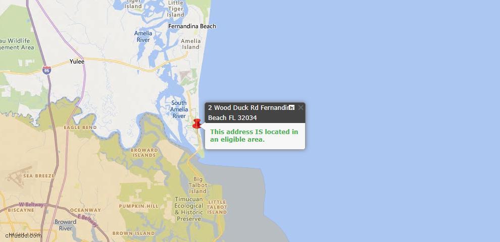 USDA Loan Eligiblity Map - 2 Wood Duck Rd, Fernandina Beach, FL 32034
