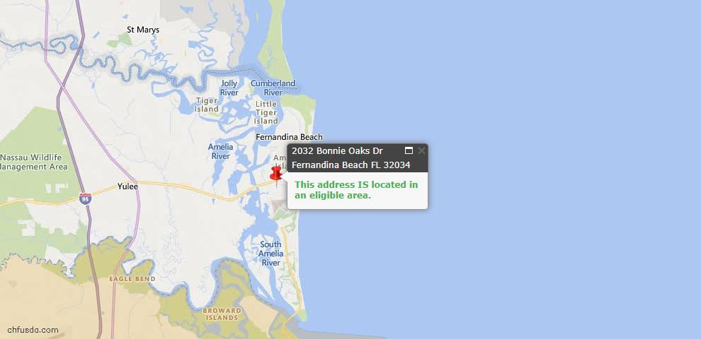 USDA Loan Eligiblity Map - 2032 Bonnie Oaks Dr, Fernandina Beach, FL 32034