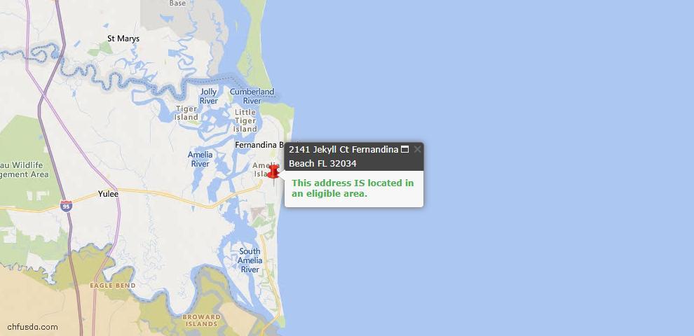 USDA Loan Eligiblity Map - 2141 Jekyll Ct, Fernandina Beach, FL 32034