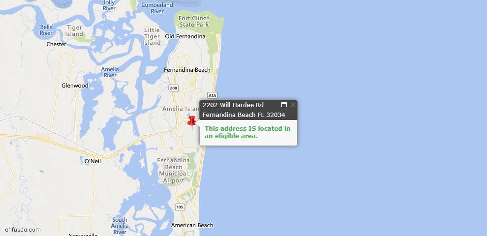 USDA Loan Eligiblity Map - 2202 Will Hardee Rd, Fernandina Beach, FL 32034