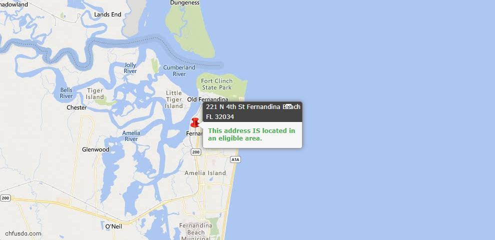 USDA Loan Eligiblity Map - 221 North 4th St, Fernandina Beach, FL 32034