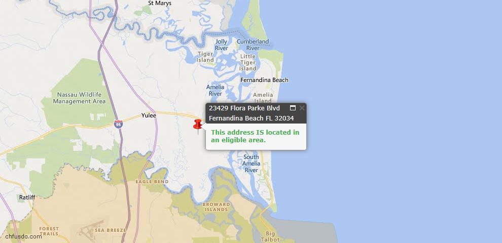 USDA Loan Eligiblity Map - 23429 Flora Parke Blvd, Fernandina Beach, FL 32034