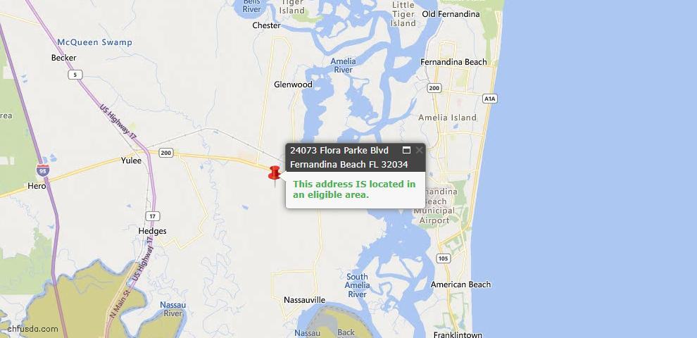 USDA Loan Eligiblity Map - 24073 Flora Parke Blvd, Fernandina Beach, FL 32034