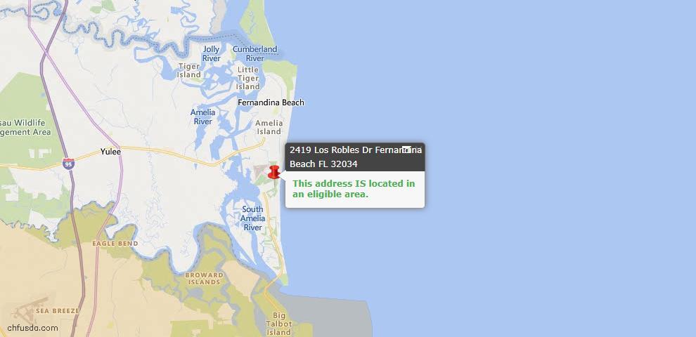 USDA Loan Eligiblity Map - 2419 Los Robles Dr, Fernandina Beach, FL 32034