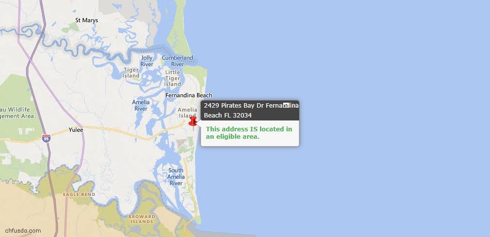 USDA Loan Eligiblity Map - 2429 Pirates Bay Dr, Fernandina Beach, FL 32034