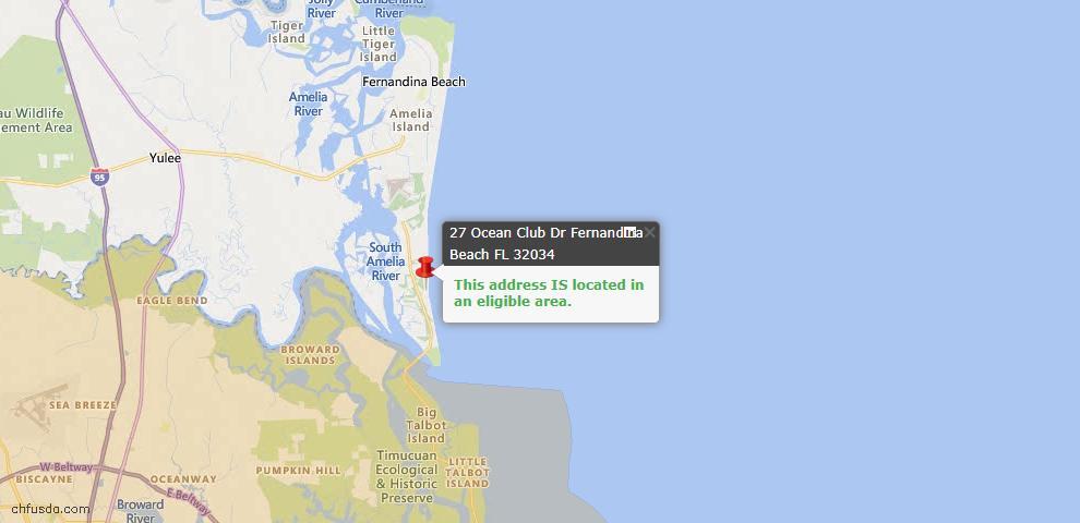 USDA Loan Eligiblity Map - 27 Ocean Club Dr, Fernandina Beach, FL 32034