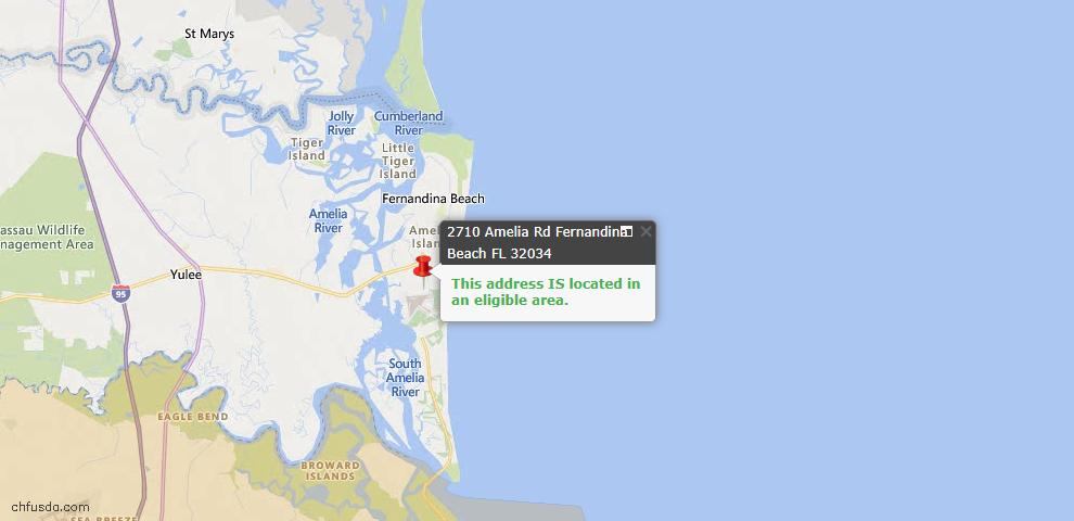 USDA Loan Eligiblity Map - 2710 Amelia Rd, Fernandina Beach, FL 32034