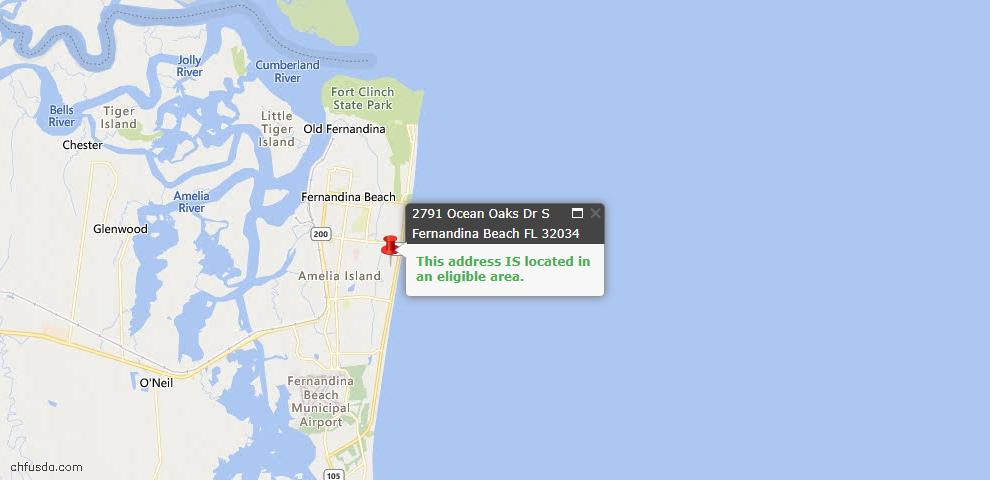 USDA Loan Eligiblity Map - 2791 Ocean Oaks Dr South, Fernandina Beach, FL 32034