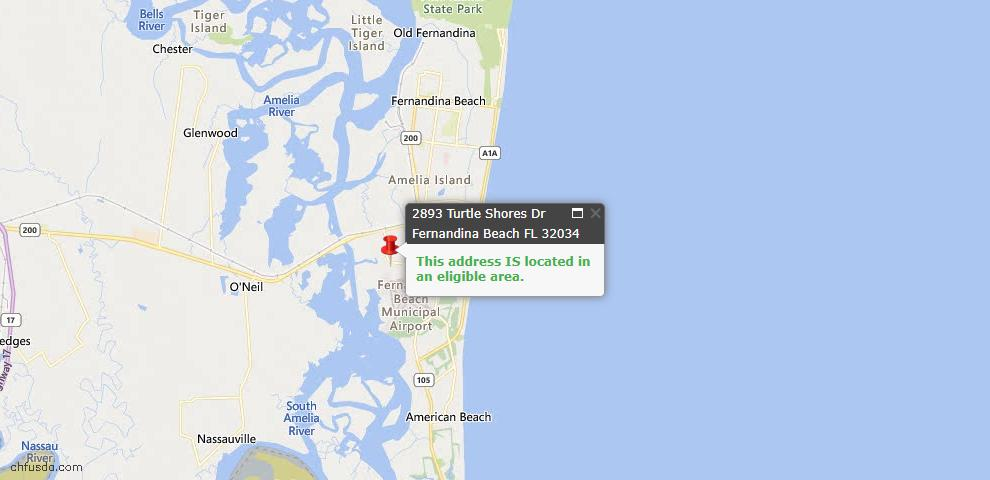 USDA Loan Eligiblity Map - 2893 Turtle Shores Dr, Fernandina Beach, FL 32034