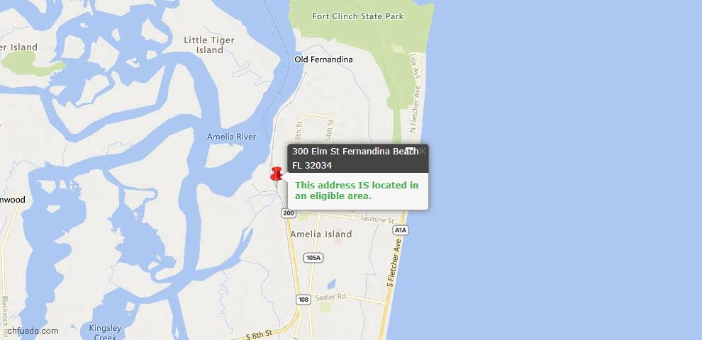 USDA Loan Eligiblity Map - 300 Elm St, Fernandina Beach, FL 32034