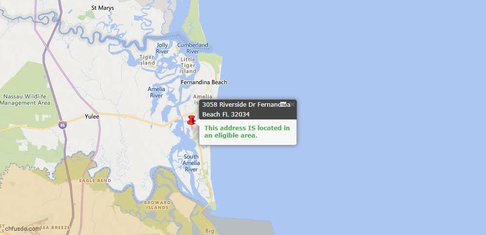 USDA Loan Eligiblity Map - 3058 Riverside Dr, Fernandina Beach, FL 32034