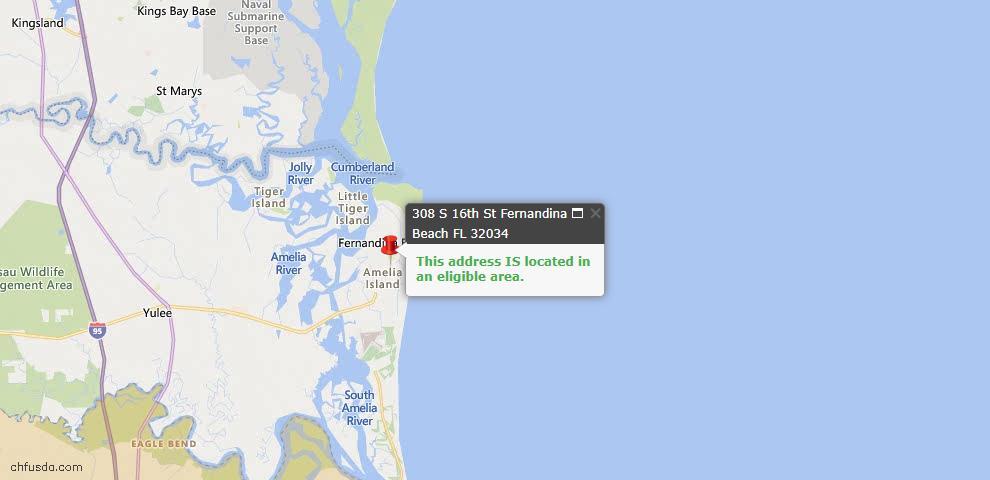 USDA Loan Eligiblity Map - 308 South 16th St South, Fernandina Beach, FL 32034