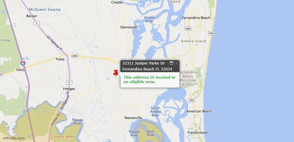 USDA Loan Eligiblity Map - 32311 Juniper Parke Dr, Fernandina Beach, FL 32034