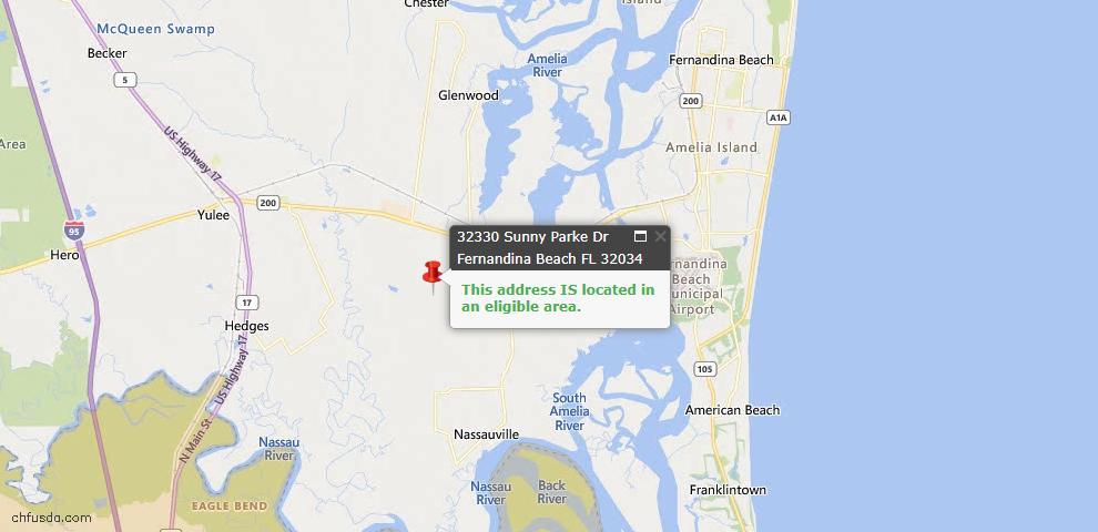 USDA Loan Eligiblity Map - 32330 Sunny Parke Dr, Fernandina Beach, FL 32034