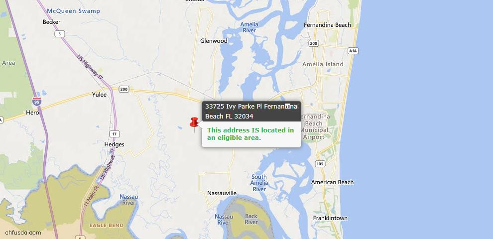 USDA Loan Eligiblity Map - 33725 Ivy Parke Pl, Fernandina Beach, FL 32034
