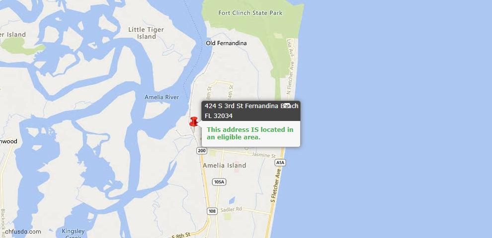 USDA Loan Eligiblity Map - 424 South 3rd St, Fernandina Beach, FL 32034