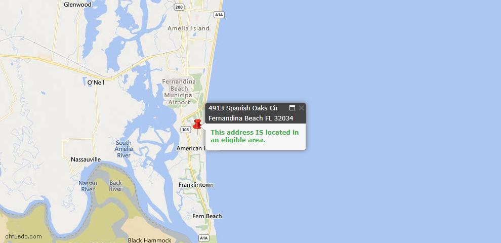 USDA Loan Eligiblity Map - 4913 Spanish Oaks Cir, Fernandina Beach, FL 32034