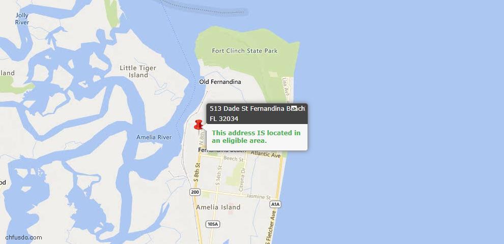 USDA Loan Eligiblity Map - 513 Dade St, Fernandina Beach, FL 32034