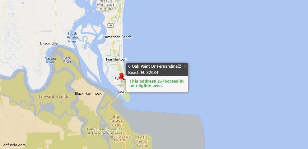 USDA Loan Eligiblity Map - 6 Oak Point Dr, Fernandina Beach, FL 32034