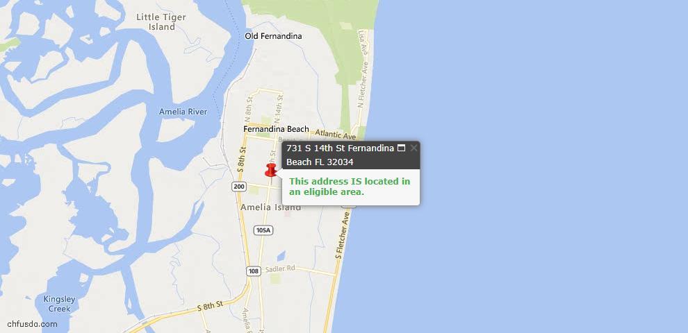 USDA Loan Eligiblity Map - 731 South 14th St, Fernandina Beach, FL 32034
